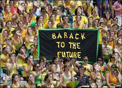 Fans at the Australian Open wearing Barack Obama masks