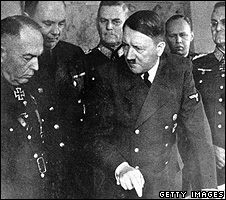 Adolf Hitler (right) speaking to Ion Antonescu, 23 Mar 44