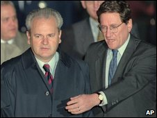 The then Yugoslav President Slobodan Milosevic with Richard Holbrooke in Dayton, Ohio, in 1995