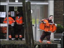 Emergency workers outside the creche in Dendermonde, Belgium