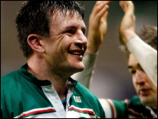 Tigers skipper Martin Corry celebrates topping Heineken Cup Pool Three