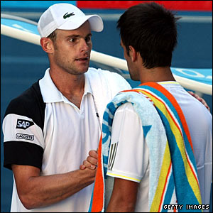 Andy Roddick and Novak Djokovic
