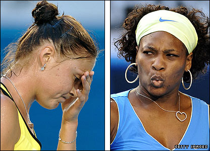 Dinara Safina (left) and Serena Williams