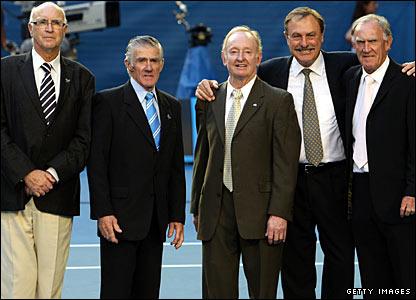 Andres Gimeno, Ken Rosewall, Rod Laver, John Newcombe and Tony Roche