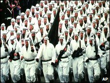 The Seventh Muslim Brigade on parade in Zenica in 1996