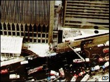 The World Trade Centre in New York after the bomb explosion which killed 6 people in 1993