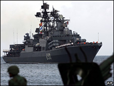 Russian warhip arrives in Venezuelan port
