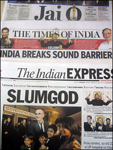 Indian newspaper coverage of Slumdog Millionaire win