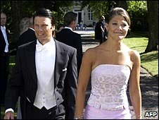 Sweden's Crown Princess Victoria and her fiance, Daniel Westling (09/08/2003)