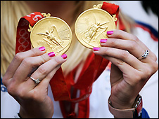 Rebecca Adlington's two gold medals from Beijing Olympics