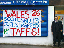 Rob Davies outside his shop after the first Wales win