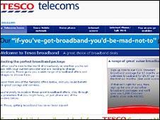 Screen grab of Tesco Broadband site