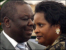 Morgan Tsvangirai and his wife Susan (Feb 2009)