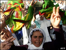 Kurds in Silopi protest against Turkish military attacks on PKK bases in northern Iraq (3 November 2007)