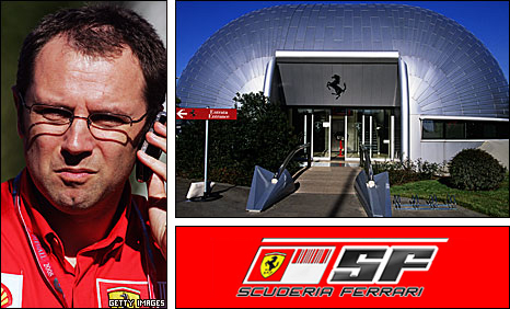Ferrari team boss Stefano Domenicali and the team's facility in Maranello