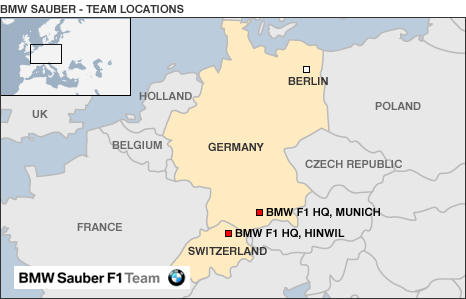 A map of BMW Sauber's base