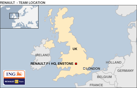 Map showing Renault's UK base