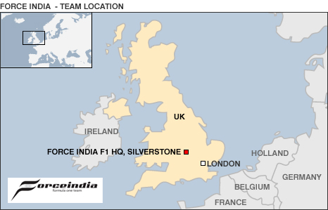 Map showing Force India's UK base