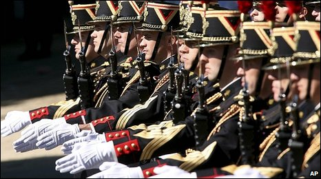 Republican Guard march during Bastille day ceremonies in Paris