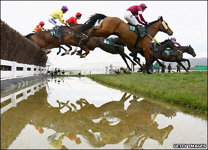 Horses clear the Water Jump during the National Hunt Chase Challenge Cup