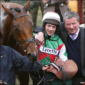 Tricky Trickster with jockey Sam Waley-Choen and trainer Nigel Twiston-Davies