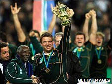 South Africa captain John Smit celebrates winning the 2007 World Cup