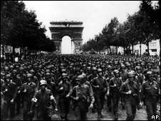 US soldiers march along the Champs Elysees, on 29 August, 1944