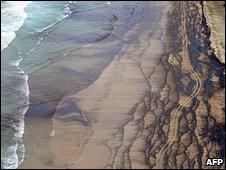 An oil slick blackens the sand near Cape Moreton on Moreton Island, Queensland 12 March