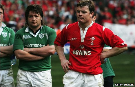 Brian O'Driscoll of Ireland wearing a Wales shirt looks dejected after their defeat to Wales in Cardiff 2005
