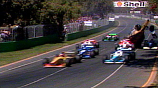 Martin Brundle collides with David Coulthard