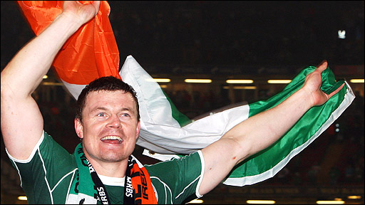 Ireland skipper Brian O'Driscoll celebrates the Grand Slam