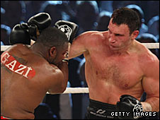 Vitali Klitschko (right) in action in Stuttgart