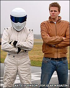 The Stig and Jake on the Top Gear racetrack
