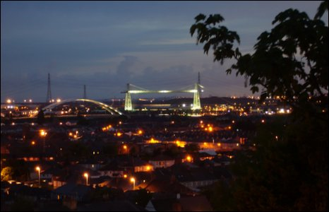 Newport bridges by night. Photo by Cliff Powell.