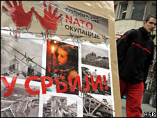 "Poster in Belgrade reading: ""Ten years of Nato occupation of Serbia.�"