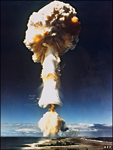 French nuclear test at Mururoa, French Polynesia, in 1970