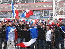 French rugby fans outside the Millennium Stadium in Cardiff