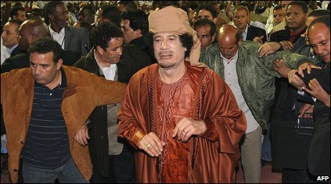 Libyan leader Muammar Gaddafi in Mauritanian capital Nouakchott on 10 March 2009