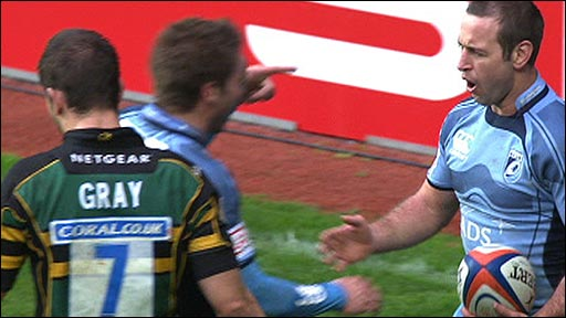 Cardiff Blues captain Jason Spice celebrates