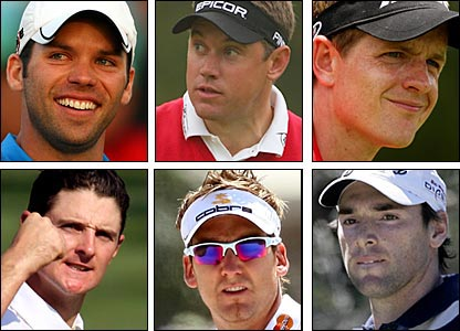 Clockwise from top left: Paul Casey, Lee Westwood, Luke Donald, Oliver Wilson, Ian Poulter, Justin Rose