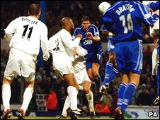 Scott Young scores for Cardiff v Leeds 2002