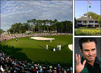 Clockwise from left: Augusta's 18th green, the clubhouse, defending champion Trevor Immelman