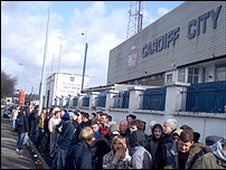 Cardiff City fans outside Ninian Park