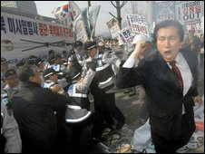 Protestors in South Korea