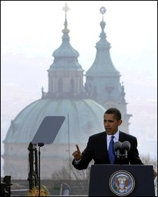 US President Barack Obama delivers his speech in the Czech capital, Prague, 5 April 2009