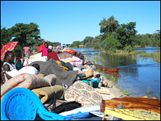 Flooded village by the Zambezi