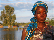Woman on banks of Kavango river in Namibia
