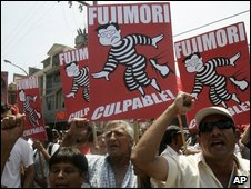 Opponents of Alberto Fujimori celebrate after he was found guilty of human rights abuses