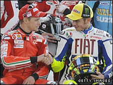 MotoGP rivals Casey Stoner and Valentino Rossi