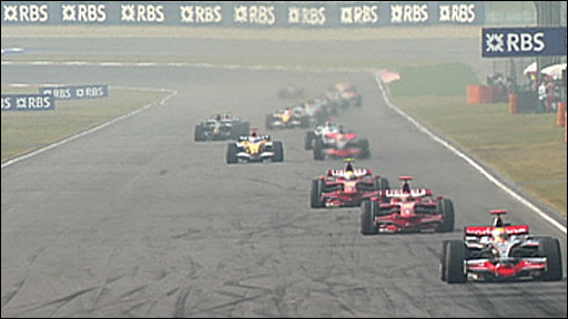 Lewis Hamilton leads the 2008 Chinese GP
